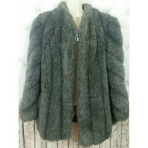 Fluffy Gray Silver Womens Coat/Jacket Faux Fur